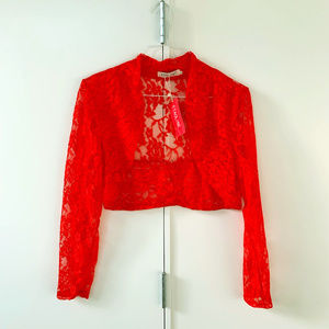 Red Lace Long Sleeve Shrug - NWT